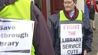 Protest about library service changes