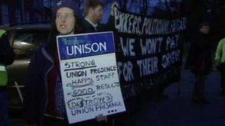 Union members at protest