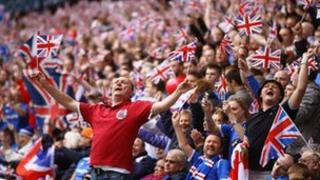 Rangers fans at Old Firm game in 2011