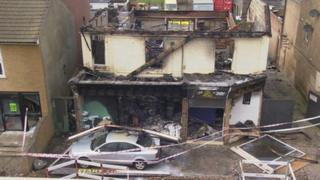 Scene of the DIY store fire in Gravesend