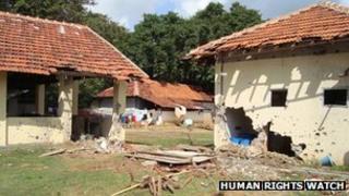 Damaged buildings in Sri Lanka