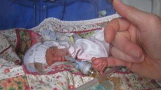 Poppy Richards who was born at 24 weeks