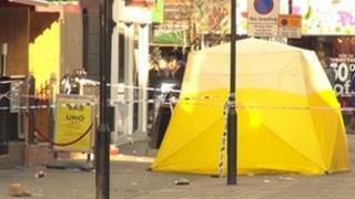 Scene of the stabbing in Camden
