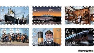 Titanic depicted on Alderney stamps