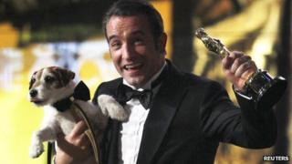 Jean Dujardin and Uggie the dog