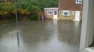 Photograph of flooding in Kingsley Close taken by resident Shan Silman