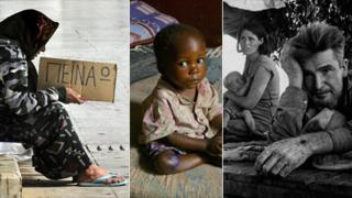 Beggar in Greece, refugee in Liberia, family in Great Depression