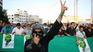 Supporters of Mir Hossein Mousavi demonstrate in Tehran, June 2009