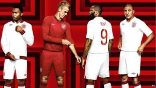 Players model the England team's new kit