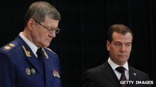 Russian Prosecutor General Yuri Chaika (L) with President Dmitry Medvedev