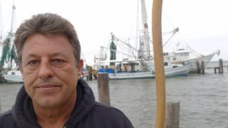 Dean Blanchard on the dock
