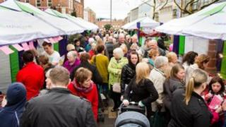 Crowds browsing the stalls at the festival