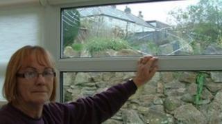 Jenny Osborne from Tremar near Liskeard and her broken conservatory window