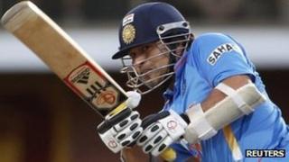 Sachin Tendulkar plays in the tri-series against Sri Lanka in Hobart on 28 February 2012