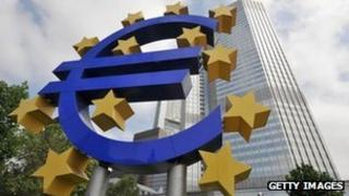 Euro sculpture outside of the ECB headquarters in Frankfurt