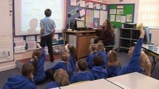 Pupils in class at Derwent School