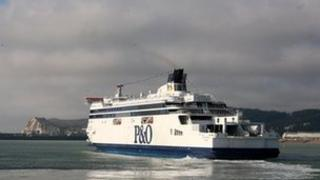 Ferry arriving at the Port of Dover