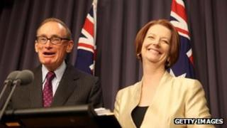 Australian Prime Minister Julia Gillard, right, names Bob Carr, left, as the new foreign minister to replace Kevin Rudd at a press conference at Parliament House on 2 March, 2012 in Canberra, Australia