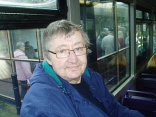 Geoffrey Harris on the bus to Swansea
