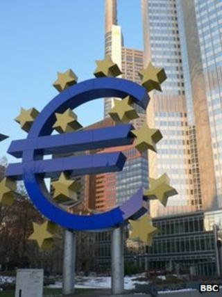 Euro currency logo sign in front of the ECB