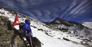 Sherpa on Himalayan mountain