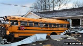 A school bus propelled into a building in Henryville, Indiana