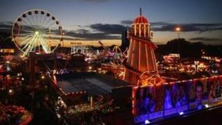 Goose Fair at night