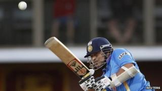 India's Sachin Tendulkar plays a shot during their Tri-series one-day international cricket match against Sri Lanka at Bellerive Oval in Hobart - 28 February 2012