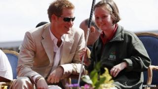 Prince Harry talks to blind student Anna Albury