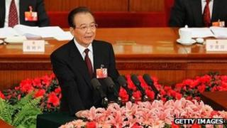 Premier Wen Jiabao delivering his Government Work Report at the Great Hall of the People in Beijing, 5 March 2012