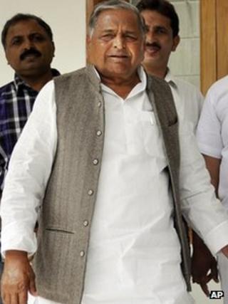 Mulayam Singh Yadav in Lucknow on 5 March 2012