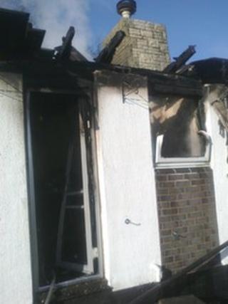 The damaged property in Rhydymwyn