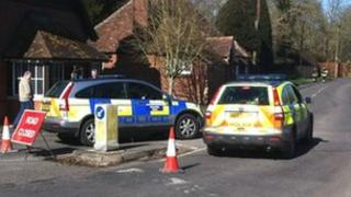 The nearby A338 has been closed because of the scale of the incident