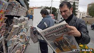Newspaper reader in Nicosia