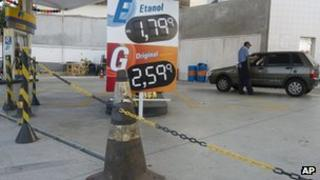 Petrol station in Sao Paulo on 6 March 2012