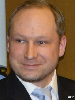Anders Behring Breivik smiles as he arrives in court in Oslo, 6 February