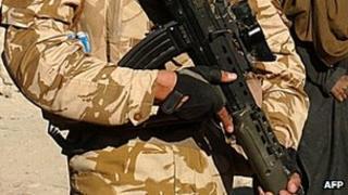 British soldier with a gun