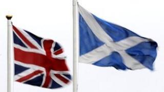 Union flag and Scottish flag