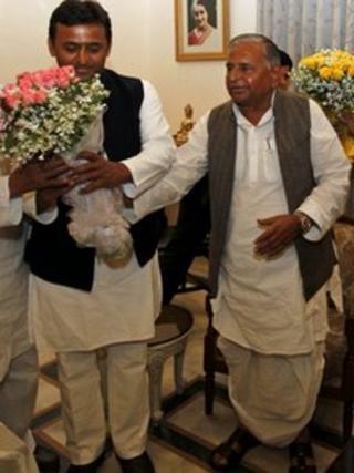 Akhilesh Yadav (left) and Mulayam Singh Yadav on 7 March 2012