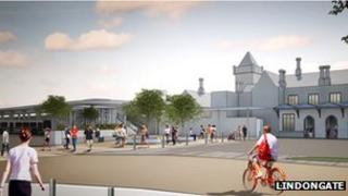 Artist's impression of the new bus station concourse in Lincoln