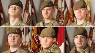 Clockwise from top left: Pte Wade, Pte Wilford, Pte Frampton, Pte Kershaw, Cpl Hartley and Sgt Coupe