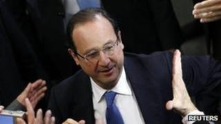 Francois Hollande on a campaign visit to Reims, northern France, 8 March
