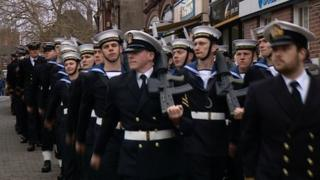 Sailors marching in Stone
