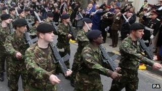 Territorial Army parade through Kensington