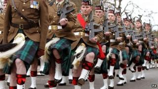 The Royal Regiment of Scotland parade from Stirling Castle to the city chambers to mark the Royal Regiment of Scotland being awarded the freedom of Stirling