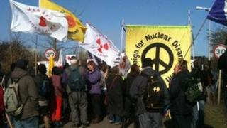 Protesters on Saturday 10 March