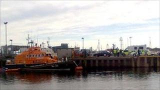 Lifeboat, police and ambulance at Fraserburgh Harbour