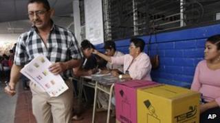 Voter in El Salvador on 11 March 2012