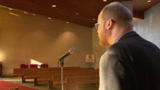 Rev Alex McAspurren conducting a council funeral