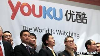 Victor Koo chairman of Youku at the company's listing on the New York Stock Exchange